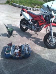 今日の枝豆とバイク整備