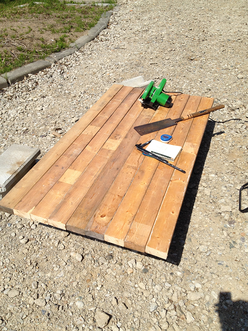 ガーデンテーブル上面製作